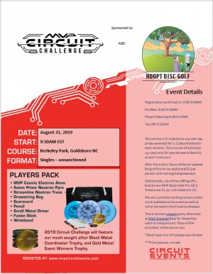 MVP Circuit Challenge sponsored by Adopt Disc Golf graphic