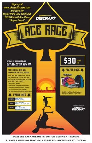 "Taylor Park Disc Golf Club 2019 Discraft Ace Race ""Super Event"" graphic"