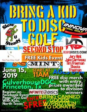 "KidsDiscs.com Presents ""Bring A Kid To Disc Golf, Jack Culverhouse DGC"" graphic"