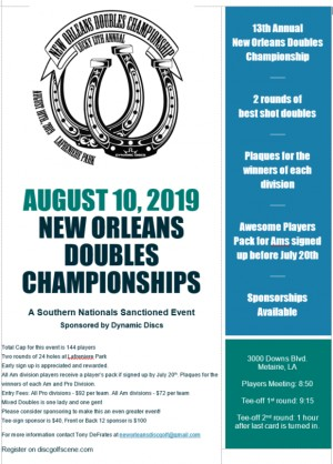 13th Annual New Orleans Doubles Championships Sponsored by Dynamic Discs graphic
