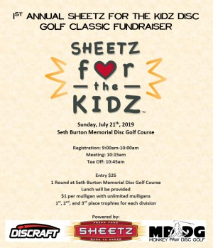 1st Annual SHEETZ for the KIDZ Disc Golf Classic graphic