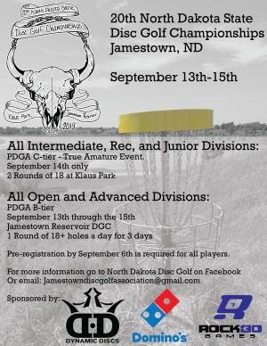 20th North Dakota State Disc Golf Championships (All Pro & Advanced Divs) graphic