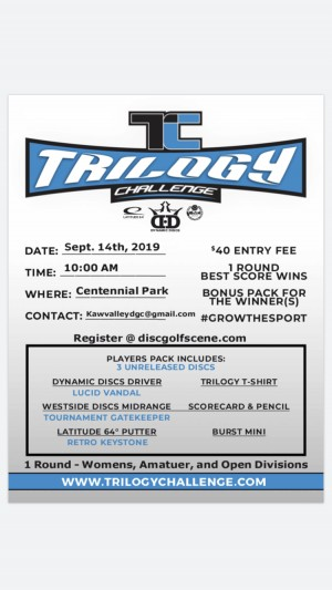 2019 Trilogy Challenge Presented by The Kaw Valley Disc Golf Club graphic