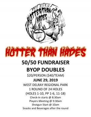 50/50 Fundraiser for Hotter Than Hades presented by Tri-Fly Disc Golf graphic