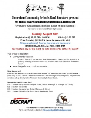Riverview Band Disc Golf Clinic & Fundraiser graphic
