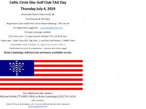 Celtic Circle Disc Golf Club TAG Day graphic