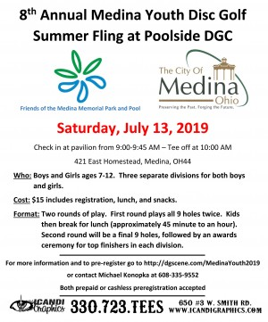 8th Annual Medina Youth Disc Golf Summer Fling graphic