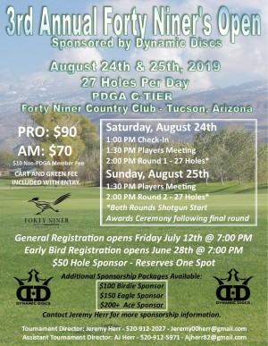 3rd Annual Forty Niner Open Sponsored by Dynamic Discs graphic