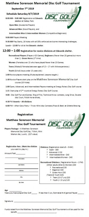 Matthew Sorenson Memorial Disc Golf Tournament graphic