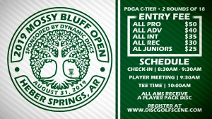 2019 Mossy Bluff Open Sponsored by Dynamic Discs graphic