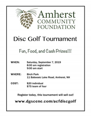 2nd Annual Amherst Community Foundation Disc Golf Tournament graphic