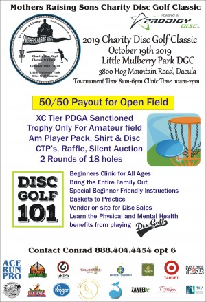 Mothers Raising Sons Charity Disc Golf Classic powered by Prodigy graphic