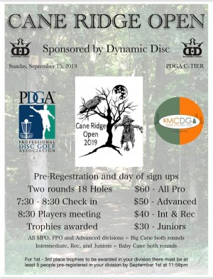 2019 Cane Ridge Open Sponsored by Dynamic Discs graphic