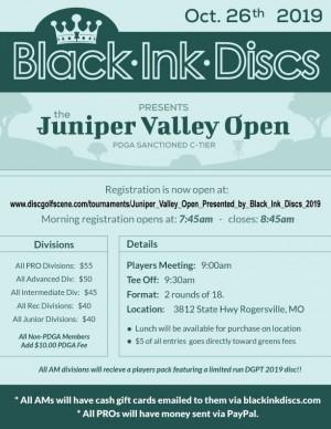 Juniper Valley Open, Presented by Black Ink Discs graphic