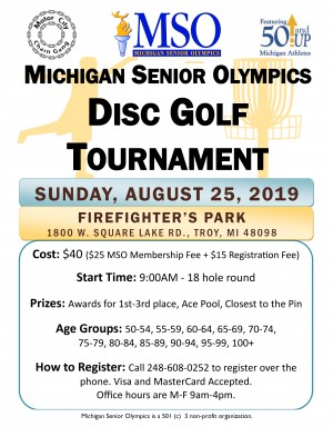 6th Annual Michigan Senior Olympics Disc Golf Tournament graphic