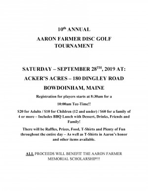 10th Annual Aaron M. Farmer Disc Golf Tournament graphic