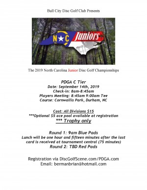 2019 North Carolina Junior Disc Golf Championships graphic