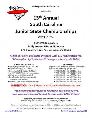 South Carolina Junior State Championships driven by Innova graphic