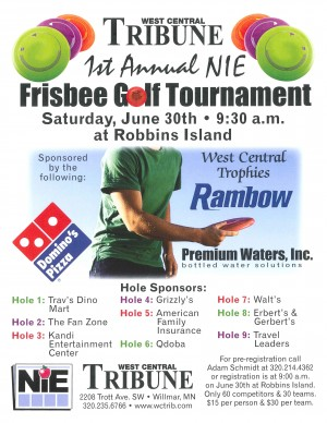 West Central Tribune 1st Annual N.I.E. Disc Golf Tournament graphic