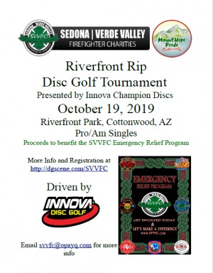 Sedona-Verde Valley Firefighter Charities Riverfront Rip by Mount Hope Foods & Innova Champion Discs graphic