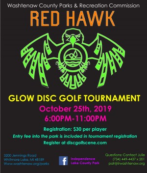 4th Annual Red Hawk Glow Disc Golf Tournament AM ONLY graphic