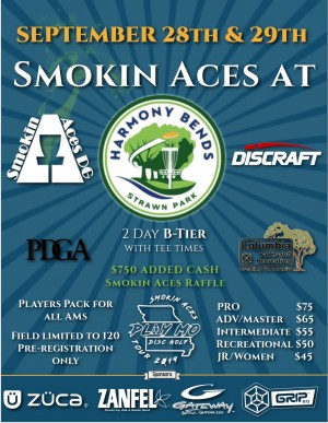 Smokin Aces at Harmony Bends sponsored by Discraft graphic