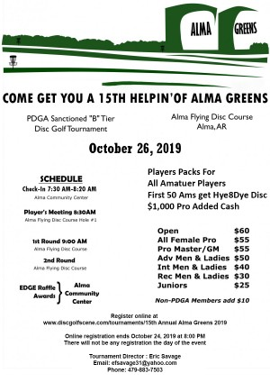 15th Annual Alma Greens graphic