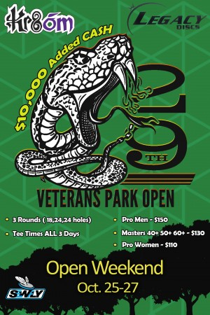 KR8om presents the 29th Veterans Park Open Pro Weekend powered by Legacy Discs graphic