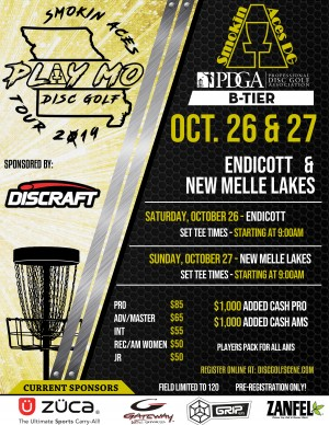 Smokin Aces PLAY MO DISC GOLF TOUR Championship sponsored by Discraft graphic