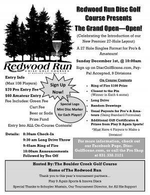 The Redwood Run Grand Open - Open graphic