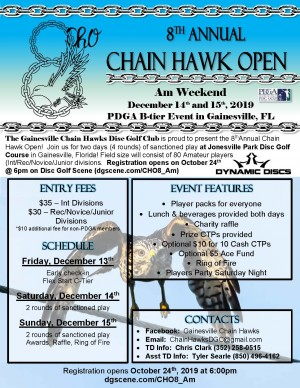 8th Annual Chain Hawk Open AM Weekend 2019 graphic
