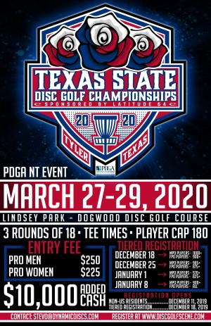 2020 Texas State Disc Golf Championships Presented by Latitude 64 graphic