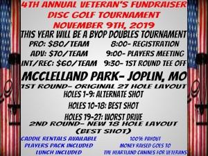 4th Annual Veteran's Fundraiser Disc Golf Tournament graphic
