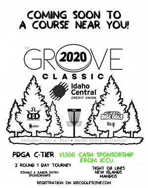 The Grove Classic, 2020. Sponsored by ICCU and powered by Lucky Disc Golf & Dynamic Discs graphic