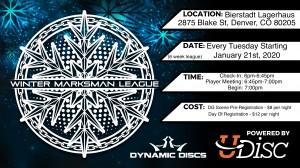 Denver Winter Marksman League Sponsored by Dragon Disc Golf Club graphic