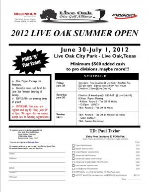 10th Annual Live Oak Summer Open graphic