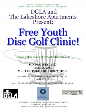 2012 - Free Youth Disc Golf Clinic - July 22nd - The Ponds graphic