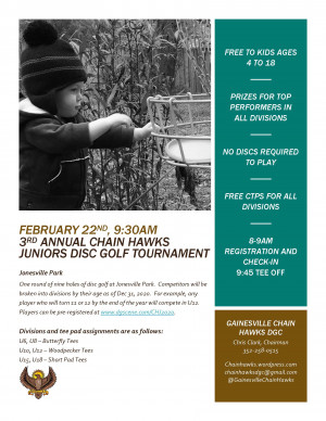 3rd Annual Chain Hawks Juniors Disc Golf Tournament graphic