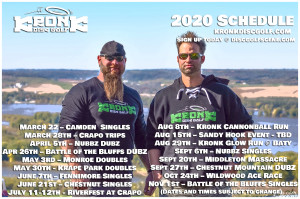 Battle of the Bluffs doubles presented by Kronk Disc Golf graphic