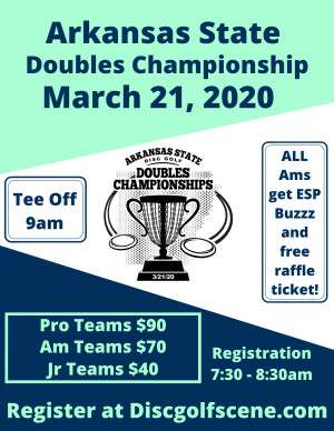Discraft presents  Arkansas States Doubles Championships graphic
