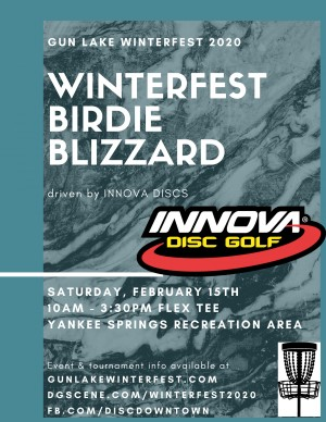 Winterfest Birdie Blizzard driven by Innova Discs graphic