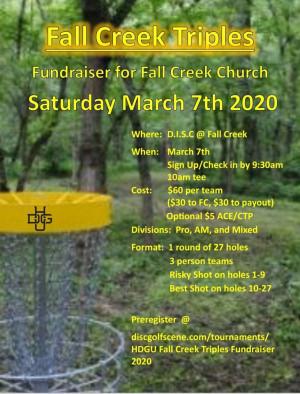 HDGU Fall Creek Triples Fundraiser graphic