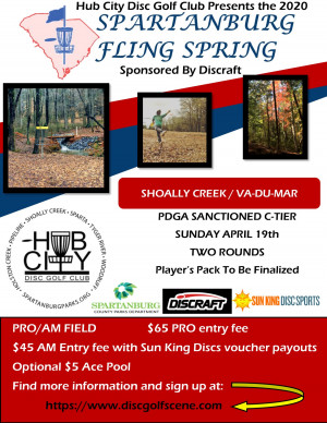 Spartanburg Fling Spring Sponsored by Discraft graphic