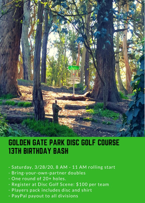 Golden Gate Disc Golf Course 13th Birthday Bash graphic