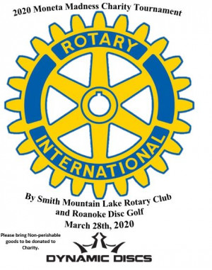 Moneta Madness Charity Tournament by Roanoke Disc Golf, Bedford County rec., and Smith Mountain Rotary graphic