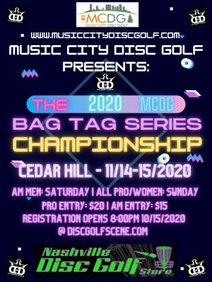 2020 MCDG Bag Tag Series Championship **AMATEUR WOMEN, PRO WOMEN, PRO MEN** graphic