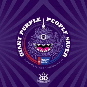 Giant Purple People Saver Sponsored by Dynamic Discs graphic