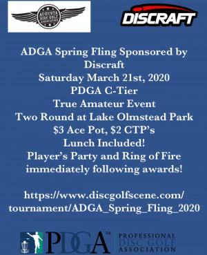 ADGA Spring Fling Sponsored by Discraft graphic