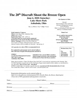 20th Discraft Shoot the Breeze Open graphic