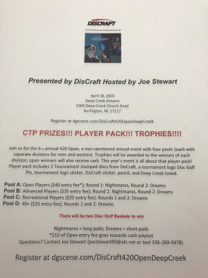 DisCraft Presents the 420 Open at Deep Creek hosted by Joe Stewart graphic